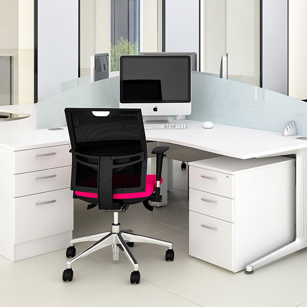 Photo showing modern office workspace with contemporary furniture