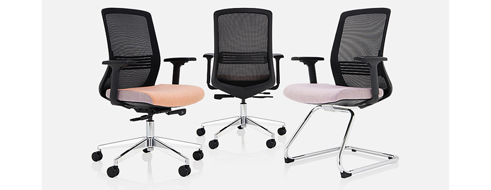 A photo of 3 different task chairs