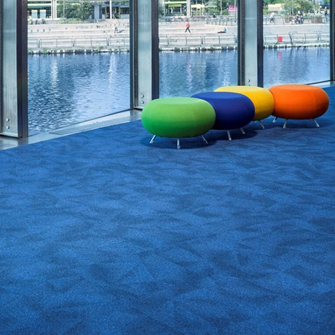 A photo of a reception area with blue carpet