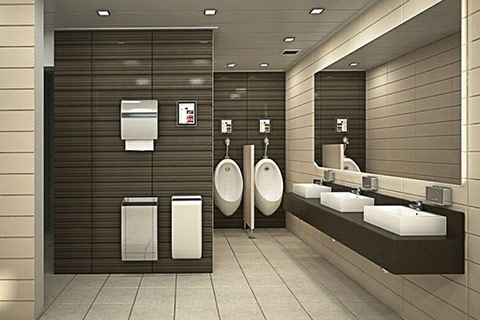 A photo of a new modern office male washroom. Washroom and Toilet Facilities from Complete Interiors