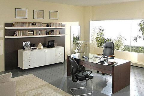Photo of nice office workspace with decoration