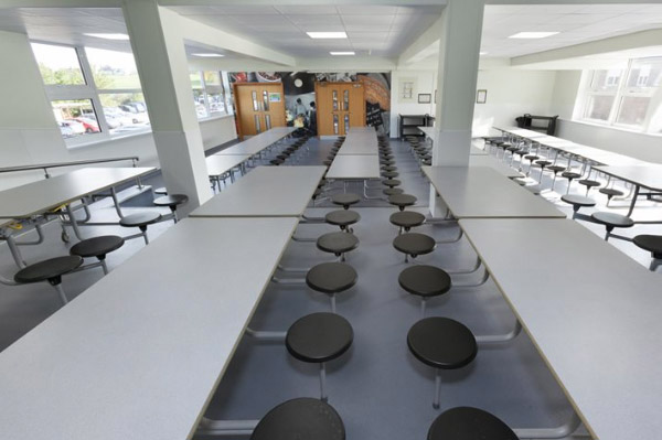 A photo looking down a refurbished student dining hall