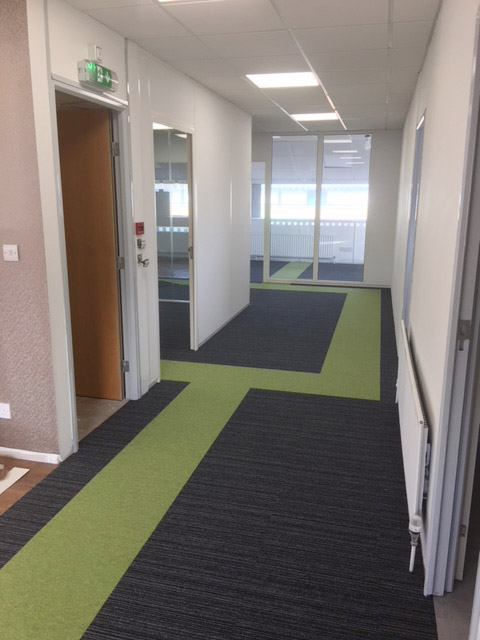 Photo of business unit refurbishment looking down corridor