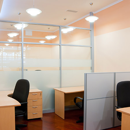 Photo of modern partitioned office