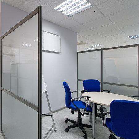 Photo of a modern partitioned office