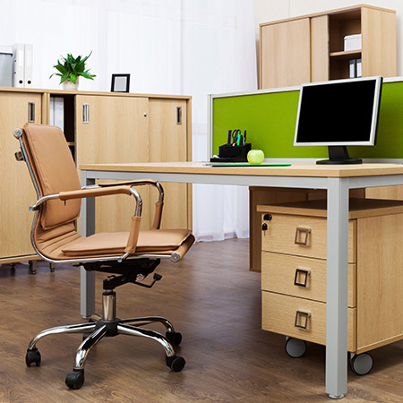 Photo of workstation in contemporary office environment