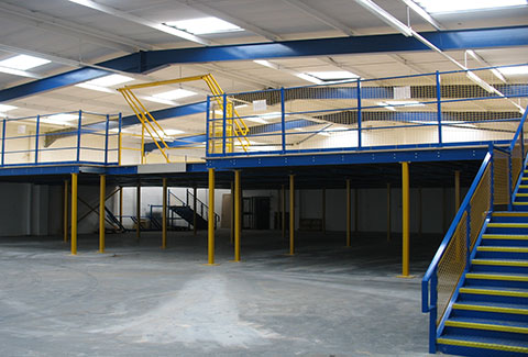 A photo of a newly constructed mezzanine in a large warehouse