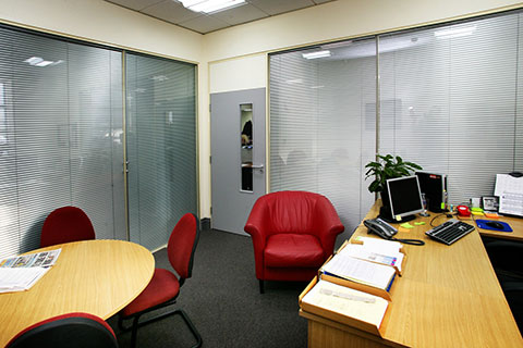 photo of small office with internal blinds