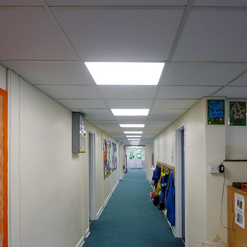 of a refurbished school corridor