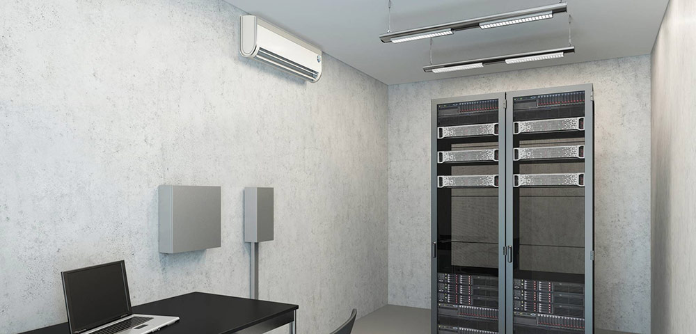 photo of a modern computer room with wall mounted air con unit
