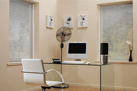 Photo of small minimal office with Venetian Blinds