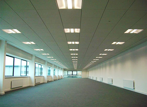 Photo showing a newly refurbished office with suspended ceiling