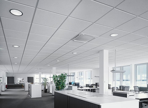 photo of a modern open plan office with suspended ceiling