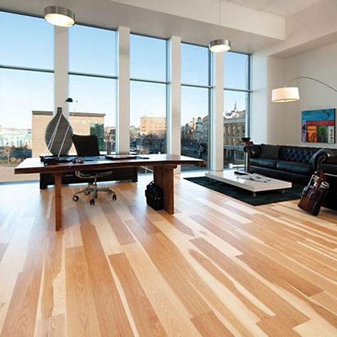 Photo of modern office with striking wooden flooring